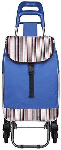 LQBDJPYS Faltbarer Einkaufstrolley mit 3 Rädern, für Treppen, Mountainbike, praktisch, wasserdicht, für den Garten, Supermarkt, Klassifizierung, Auto-Reisetasche, Gepäcktaschen (Farbe: Blau)