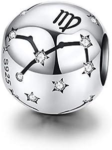 LaMenars 12 Constelación Abalorios Charms Plata de Ley 925, Abalorios de Zodiaco Compatible con Pulsera Europeo, Regalo de Cumpleaños Significativo (Virgo (8.23-9.22))