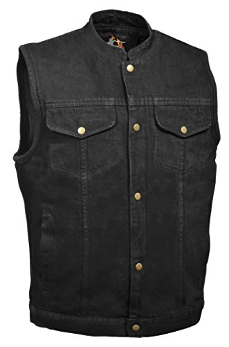 Men's SOA Anarchy Style Denim Vest w/One Inside Concealed Weapon Gun Pockets (Large, Black Denim)