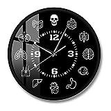 Cuerpo Humano Órganos internos Anatomía Reloj de Pared Arte de Pared médico anatómico S Reloj de Pared de Barrido Doctores Biología Estudiante Gift-Metal_Frame