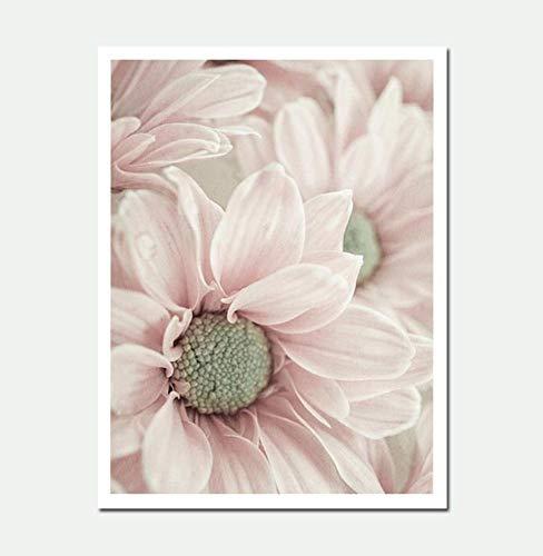 Decoración para el hogar moderno estilo nórdico planta rosa lienzo pintura cuadros pared arte impresión modular cuadros cartel para sala de estar B, 24x32 pulgadas (60x80 cm)