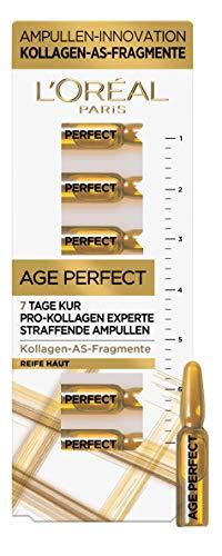 L'Oréal Paris Straffende Ampullen 7-Tage-Kur für reife Haut, Anti-Aging Gesichtspflege mit Anti-Falten Effekt, Mit Kollagen-AS-Fragmenten, Age Perfect Pro-Kollagen Experte, 7 x 1,3 ml