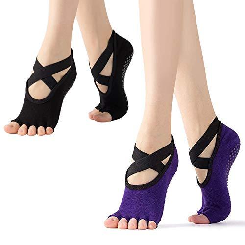 Xrten Calcetines de Yoga para Mujer, Calcetines sin Dedos Yoga 2 Pares, Calcetines de...