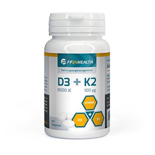 FP24 Health Vitamin D3 + K2-365 Tabletten - Vitamin D3 5000 IE - Vitamin K2 100µg - Hochdosiert - Menaquinon MK-7 - Top Qualität