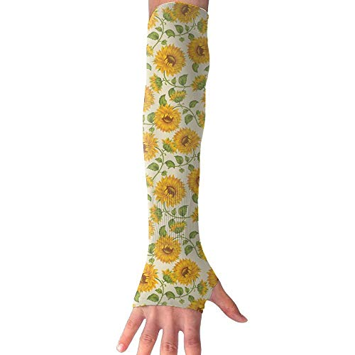 Palasyger Cooling Arm Long Sleeve Glove Golden Sunflower UV Sun Protection Arm Sleeves with Thumb for Basketball, Football, Baseball, Cycling, Volleyball, Or Other Activities