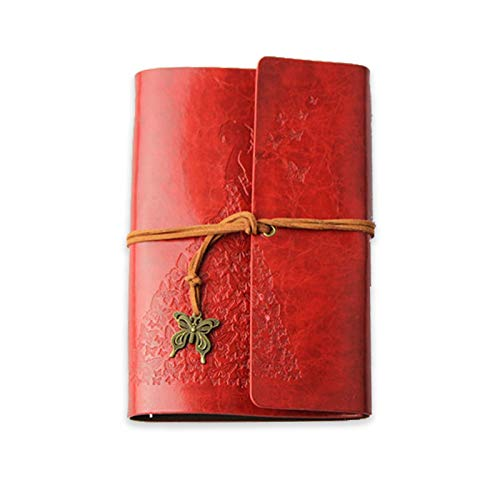 MARSACE A6 Cuaderno de Cuero Diario de Viaje Vintage Agenda Rellenable Bloc Notas Journal en Blanco Regalos para Hombres Mujer Niño Niña Estudiante 80 Hojas 18.5x12 CM Rojo