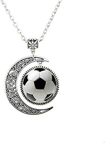 Fußball-Halskette mit Mond-Motiv, Fußball-Geschenk für Fußballspieler