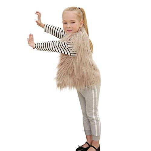 Longra Kinder Mädchen Modisch Kunstpelz Weste Fellweste Kunstfell Winterjacke Kinder Ärmellos Wintermantel Faux-Pelz Mantel Waistcoat Pelzweste Parka Outwear (3-8Jahre) (110CM 5Jahre, Khaki)
