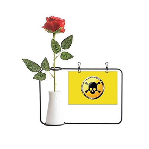 OFFbb-USA Logo Amarillo Fondo Letal Sustancia Artificial Rosa Flor Colgante Floreros Decoración Botella