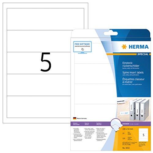 HERMA 5032 Einsteckrückenschilder für Ordner DIN A4 kurz/breit (190 x 54 mm, 25 Blatt, Karton) perforiert, bedruckbar, nicht klebende Einsteckschilder, 125 Rückenschilder, weiß