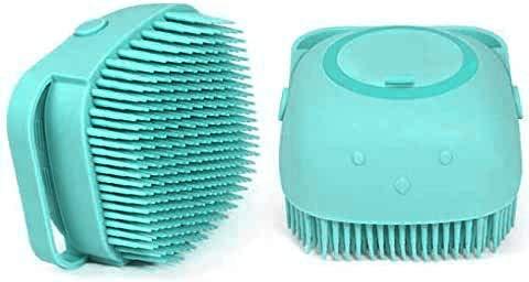 Lavuky FG03 - Cepillo de baño para mascotas con cabeza de cepillo de PVC y red de polvo 3D y correa ajustable para la muñeca adecuada para diferentes tipos de perros
