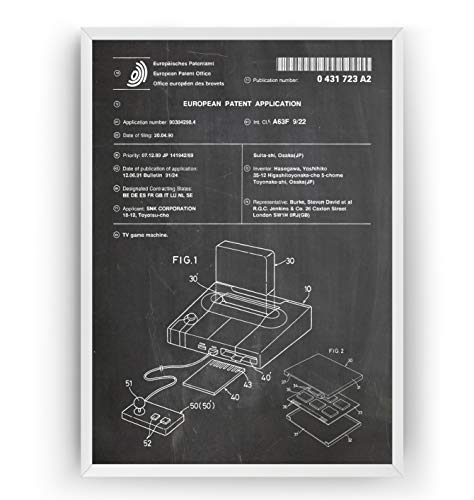 Neo Geo Console 1990 Patent Print - Gamer Gaming Giclee Poster Póster...