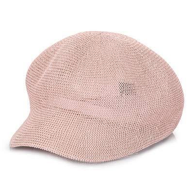 La primavera y el snapback sombreros de paja de las mujeres del verano del sombrero octogonal color sólido Enfriar Caps transpirable Cap parasol ocio de las mujeres ( Color : Pink , Size : M56TO58cm )