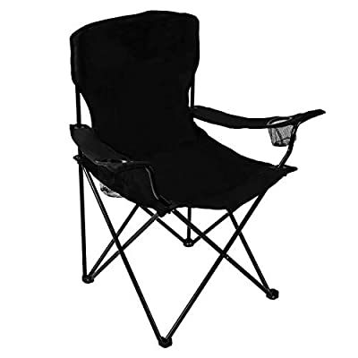 Pacific Pass Quad Chair for Camping and Fishing with Two Cup Holders, Carry Bag Included, Supports 225lbs, Middle, Black