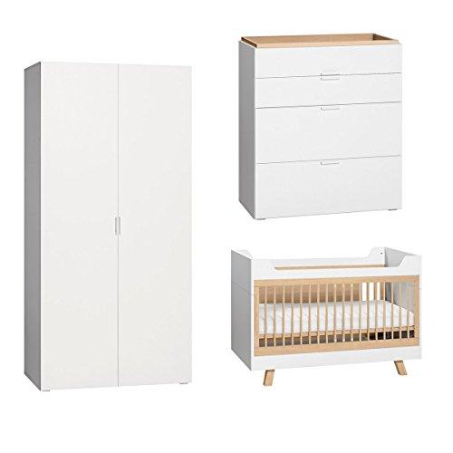Chambre complète lit évolutif 70x140 - commode à langer - armoire 2 portes 4You - Blanc