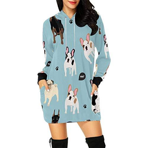 InterestPrint Women's Pullover Tunic Dobermann French Bulldog Pug Long Sleeve Mini Hoodie Dress 2XL