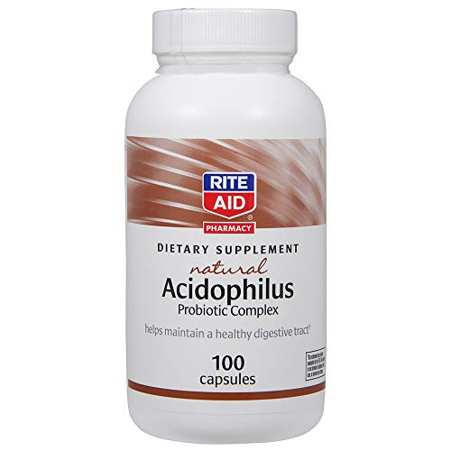 Rite Aid Acidophilus Probiotic Complex - 100 Capsules | Digestive Health | Gut Health Supplement