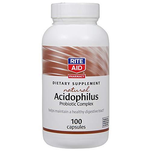 Rite Aid Acidophilus Probiotic Complex - 100 Capsules | Digestive Health | Gut Health Supplement
