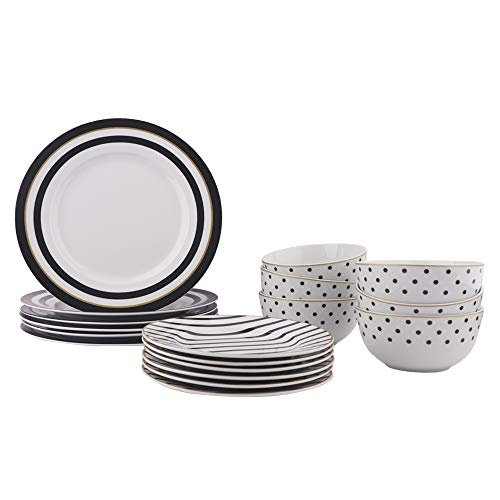 Amazon Basics 18-Piece Kitchen Dinnerware Set, Plates, Dishes, Bowls, Service for 6, Modern Elegance