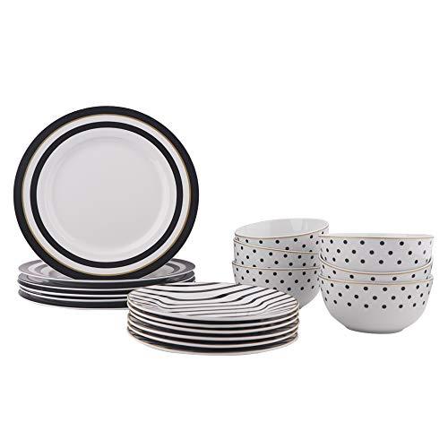 AmazonBasics 18-Piece Kitchen Dinnerware Set, Plates, Dishes, Bowls, Service for 6, Modern Elegance