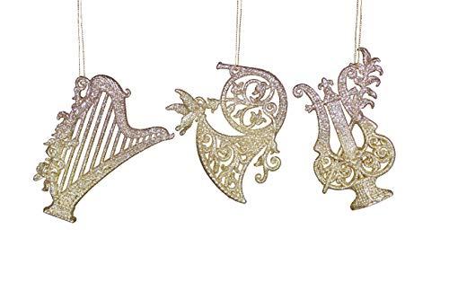 Set di tre oro strumento musicale decorazioni per albero di Natale