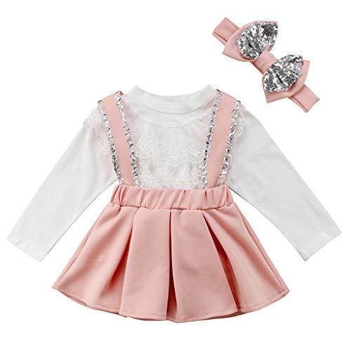 Kleinkind Kinder Baby Mädchen Lace Tops Paillette Hosenträger Röcke Stirnbänder Outfits