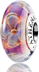 athenaie genuino de cristal de Murano 925plata core five-petaled flores abalorios, compatible con todas las pulseras color morado