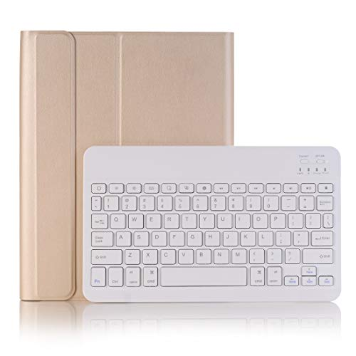 XUAILI Tablet Keyboard Case Bluetooth 3.0 Ultra-thin Detachable Bluetooth Keyboard Leather Case, for IPad Air/Pro 10.5 Inch (2019),with Pen Slot & Holder (Color : Gold)