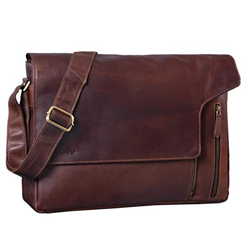 STILORD 'Eduard' Laptop Messenger Bag Leder Vintage für Herren große Umhängetasche mit 15.6 Zoll Notebook-Fach Aktentasche für Business Uni Büro Echtleder, Farbe:Cognac - Dunkelbraun