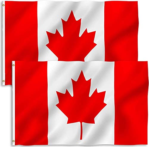 2 Pack 3 x 5 Foot Canada Flags, Canadian Flags Durable Polyester-Bright and Vivid Color and UV Fade Resistant Printed Maple Leaf Polyester and Brass Grommets-for All-Weather Indoor/Outdoor Home&Garden&House Decoration
