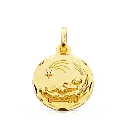 Alda Joyeros Medalla Oro para Bebe niño del Pesebre en Oro Amarillo de 9 ktes. Grabado Gratuito.