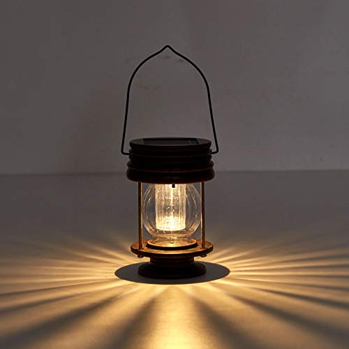 Solar Lamp for Outdoor Garden, Retro Hanging Wall Lights Kerosene Lamps Shape Solar Stakes Lights with a Handle, Best for Table Desk Balcony Courtyard Lawn Patio Yard Pathway (A)