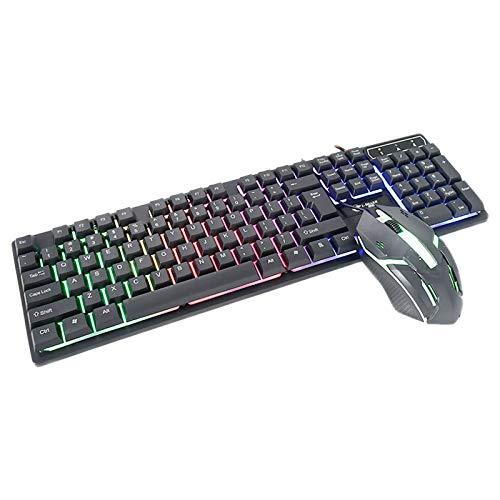 Haude Cmk188 - Juego de teclado y ratón con cable USB retroiluminado, apto para el hogar, juegos, oficina