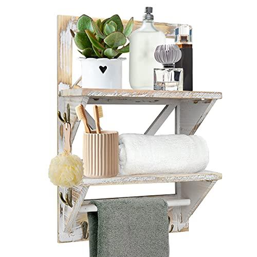 2 Tier Bathroom Shelves Rustic Shelf, Wall Hanging...