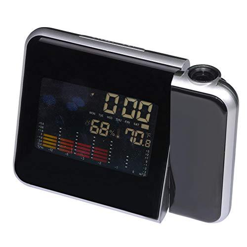 Wekker, kleurrijke projectie, projectie van plafond/muur, digitale klokken, met LCD-scherm, weerstation, thermometer, hygrometer, sluimerfunctie draagbaar (5,91 x 4,72 x 2,36 inch)