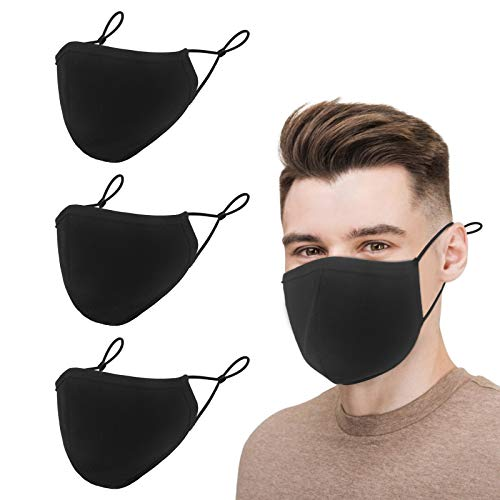 Black Cotton Mouth Protection, 3-Ply Cloth Reusable Washable Adjustable Face Protector, Fashion Adult Safety Dust Breathable Comfortable Mouth Shields for Man & Woman (3 Pack,Large)