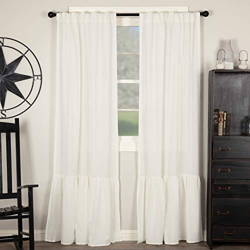 """Piper Classics Annabelle High Ruffle Panel Curtains, Set of 2, 84"""" Long, Antique Soft White Semi-Sheer, Vintage Farmhouse Chic Style Drapes"""