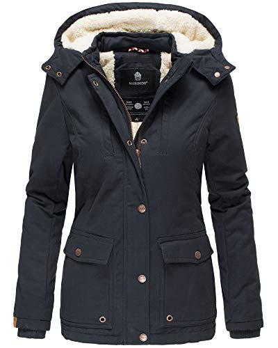 Marikoo Damen Winter Jacke Stepp Parka Mantel Teddyfell warm gefüttert Keikoo XS-XXL (L, Navy)