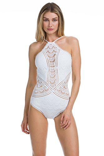 Becca by Rebecca Virtue Women's Lace Rickrack High Neck One Piece Swimsuit White L