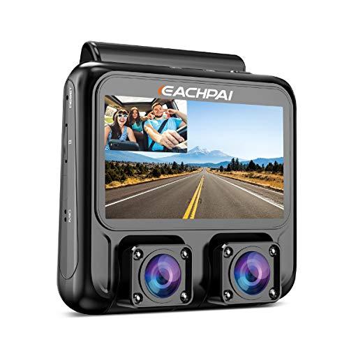 EACHPAI X100 Plus 4K HD WiFi Dashcam, Doppia Lente Telecamera per Auto per Anteriore e Posteriore, Schermo da 3 pollici Piccola Dash Camera con GPS e Visione Notturna