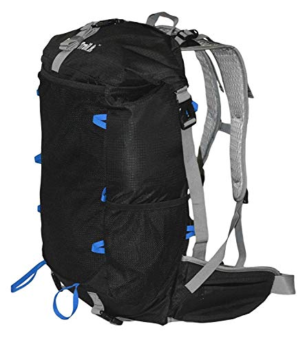 Go Back Trail Roll Top Black Backpack - ULTRALIGHT 25L - 40L with Removable Internal Frame – Always the Right Size - Water Resistant – Comfortable for Men and Women when Walking, Trekking and Hiking