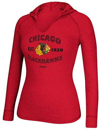 CCM Chicago Blackhawks Women's NHL Hockey Arches Long Sleeve Hooded Shirt