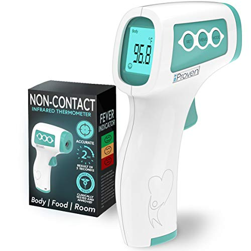 iProven No Touch Thermometer for Adults, Kids & Babies - No Touch Medical Digital Thermometer - Safe and Hygienic - With Infrared Technology - Fever Indication and Silent Mode - NCT-978