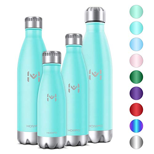 Hompo Stainless Steel Water Bottle - 27 oz/750 ml BPA Free Vacuum Insulated Metal Reusable Water Bottle, Double Walled Keeps Hot and Cold Leak Proof Drinks Bottle for Kids, Sports, Gym (Turquoise)