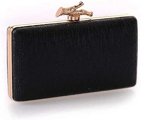 Women's Evening Handbags PU Bark Pattern Branch Luxury Clutch, Suitable for Dance Party, Party 17.5x9.8x3.5cm (Color : Black)
