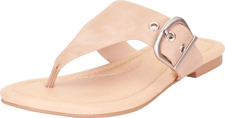 Cambridge Select Women's Thong Toe Oversized Buckle Slip-On Flat Slide Sandal
