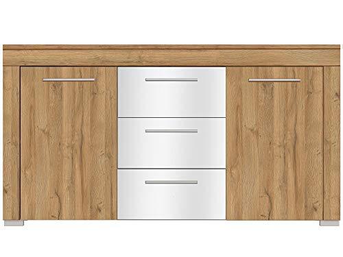 Newfurn dressoir natuur dressoir highboard multifunctionele kast II 160x86,2X 40 cm (BxHxD) II [Jessi.six] in Grandson eiken donker/hoogglans wit woonkamer slaapkamer eetkamer