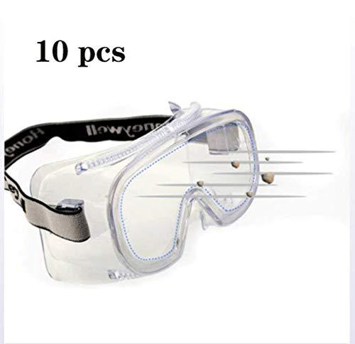 DZLXY Männliche Und Weibliche Anti-Slobber Brille, Stab-Proof, Kontaktlinsen, Spritzwassergeschützt, Staubdicht, Winddicht, Atmungsaktiv, Multifunktions Geschlossene Gläser,10pcs