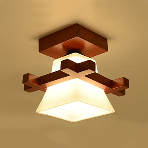 Plafondverlichting plafondverlichting massief hout enkele kop twee koppen lampen lantaarns nieuwe Chinese stijl slaapkamerverlichting hal plafondverlichting