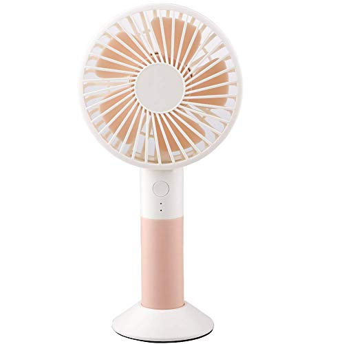 Doolland Handheld Mini Fan with Base, USB Hand Fans with Rechargeable 1200 mAh Battery, Handle Desk Fans Adjustable 3 Speed for Home Office Travel and Outdoors